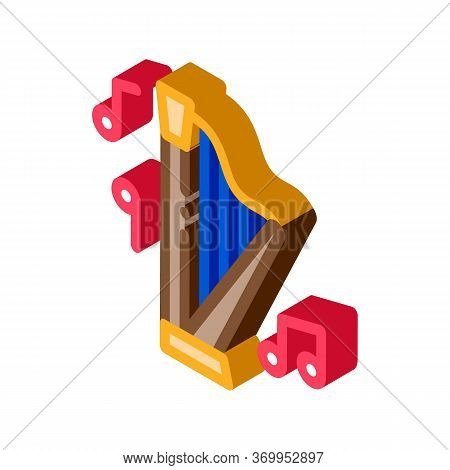Musical Harp Icon Vector. Isometric Musical Harp Sign. Color Isolated Symbol Illustration