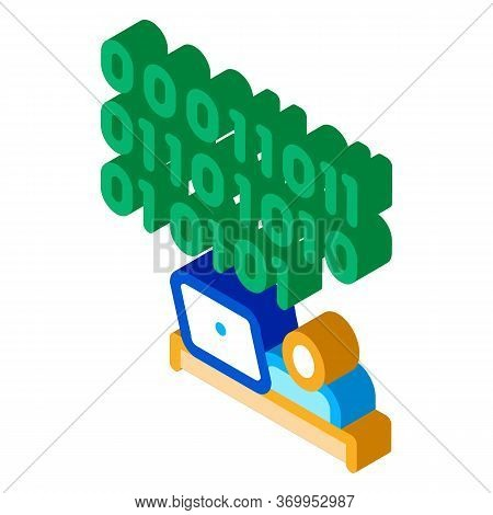 People Come Up With Binary Code Icon Vector. Isometric People Come Up With Binary Code Sign. Color I