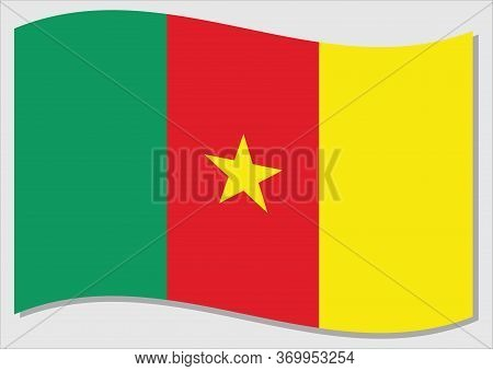 Waving Flag Of Cameroon Vector Graphic. Waving Cameroonian Flag Illustration. Cameroon Country Flag