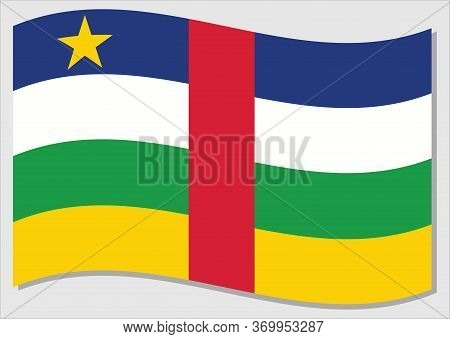 Waving Flag Of Central African Republic Vector Graphic. Waving Central African Flag Illustration. Ce