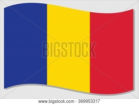 Waving Flag Of Chad Vector Graphic. Waving Chadian Flag Illustration. Chad Country Flag Wavin In The