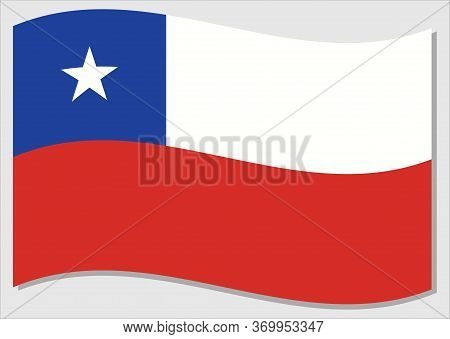 Waving Flag Of Chile Vector Graphic. Waving Chilean Flag Illustration. Chile Country Flag Wavin In T