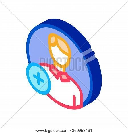 Adding New Person Icon Vector. Isometric Adding New Person Sign. Color Isolated Symbol Illustration
