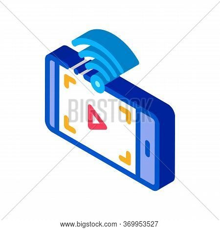 Watching Video With Wifi Icon Vector. Isometric Watching Video With Wifi Sign. Color Isolated Symbol