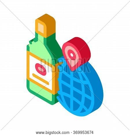 Traditional Wine In Parts Of World Icon Vector. Isometric Traditional Wine In Parts Of World Sign. C