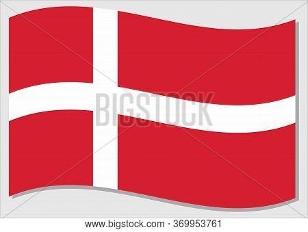 Waving Flag Of Denmark Vector Graphic. Waving Danish Flag Illustration. Denmark Country Flag Wavin I
