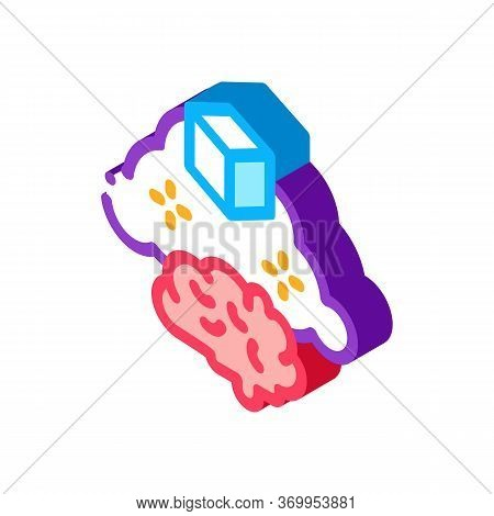Parcel Brain Cloud Icon Vector. Isometric Parcel Brain Cloud Sign. Color Isolated Symbol Illustratio