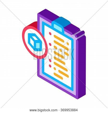 Parcel Declaration Icon Vector. Isometric Parcel Declaration Sign. Color Isolated Symbol Illustratio