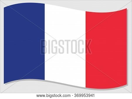 Waving Flag Of France Vector Graphic. Waving French Flag Illustration. France Country Flag Wavin In