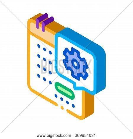 Technical Day On Calendar Icon Vector. Isometric Technical Day On Calendar Sign. Color Isolated Symb