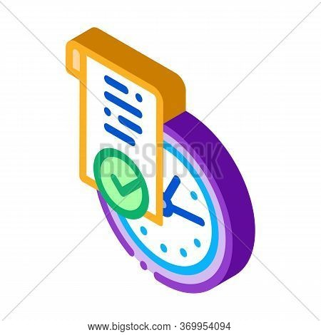 Temporary Document Icon Vector. Isometric Temporary Document Sign. Color Isolated Symbol Illustratio