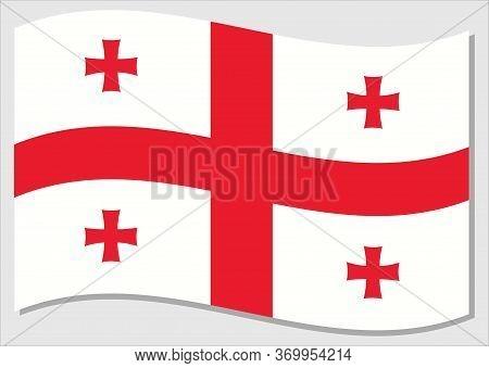 Waving Flag Of Georgia Vector Graphic. Waving Georgian Flag Illustration. Georgia Country Flag Wavin