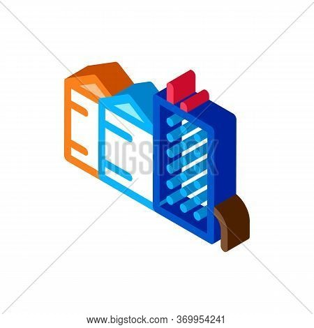 Heaters With Residential Buildings Icon Vector. Isometric Heaters With Residential Buildings Sign. C
