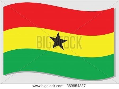 Waving Flag Of Ghana Vector Graphic. Waving Ghanaian Flag Illustration. Ghana Country Flag Wavin In