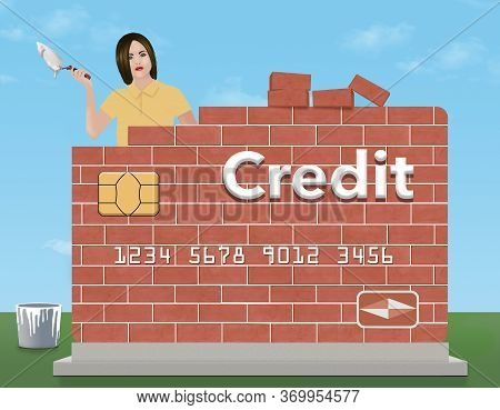 A Young Woman Holds A Trowel And Mortar As She Rebuilds A Brick Credit Card Outdoors. The Theme Is R