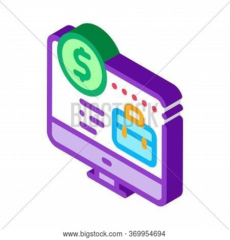Computer Paid Work Icon Vector. Isometric Computer Paid Work Sign. Color Isolated Symbol Illustratio