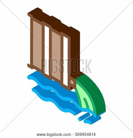 Spill Of Harmful Substances Into Water Icon Vector. Isometric Spill Of Harmful Substances Into Water