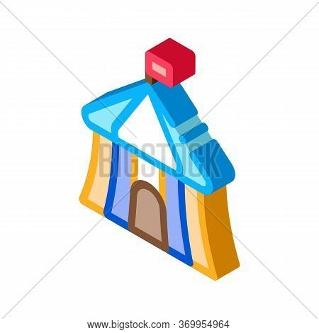 Circus Outside View Icon Vector. Isometric Circus Outside View Sign. Color Isolated Symbol Illustrat