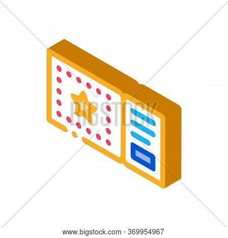 Amusement Park Ticket Icon Vector. Isometric Amusement Park Ticket Sign. Color Isolated Symbol Illus
