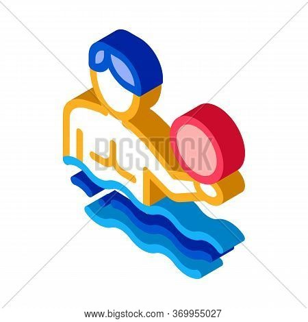 Man And Volleyball Water Ball Icon Vector. Isometric Man And Volleyball Water Ball Sign. Color Isola