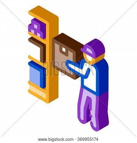 Man Restocking In Cellar Icon Vector. Isometric Man Restocking In Cellar Sign. Color Isolated Symbol