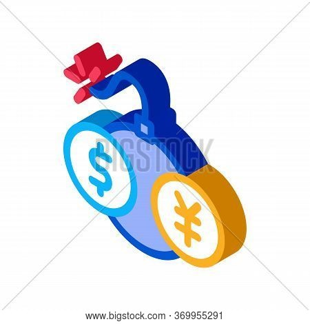 Currency Trading Bomb Icon Vector. Isometric Currency Trading Bomb Sign. Color Isolated Symbol Illus