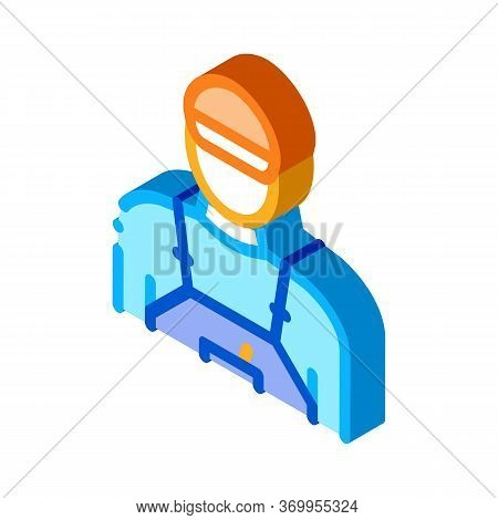 Tile Stacker Worker Icon Vector. Isometric Tile Stacker Worker Sign. Color Isolated Symbol Illustrat