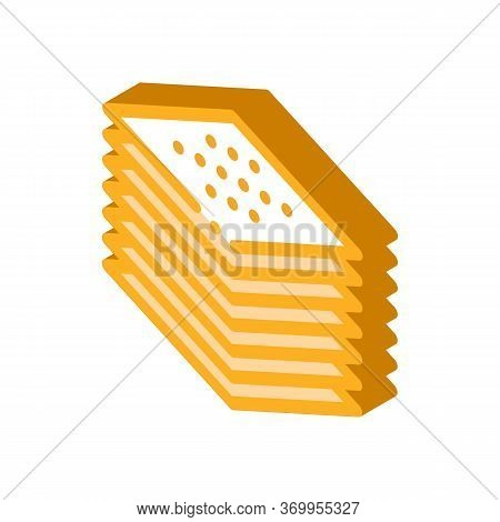 Stack Of Tiles Icon Vector. Isometric Stack Of Tiles Sign. Color Isolated Symbol Illustration