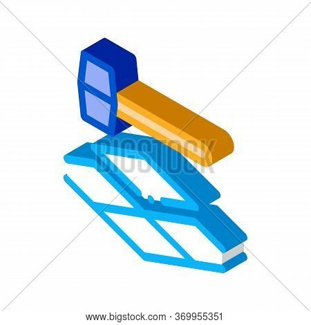 Tile Hammer Icon Vector. Isometric Tile Hammer Sign. Color Isolated Symbol Illustration