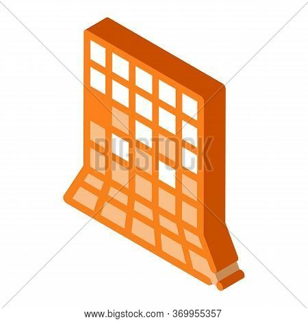 Laying Square Tiles All Over Wall Icon Vector. Isometric Laying Square Tiles All Over Wall Sign. Col