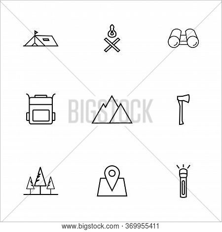 Camping Icon Set With Outline Style Vector For Your Web Design, Logo, Ui. Illustration. Set Includes