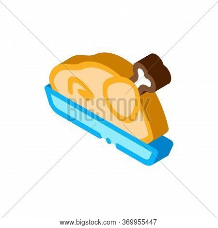 Fried Whole Chicken Icon Vector. Isometric Fried Whole Chicken Sign. Color Isolated Symbol Illustrat