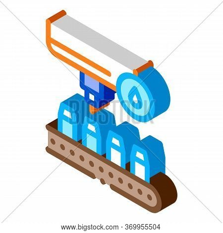 Bottle Filling Device Icon Vector. Isometric Bottle Filling Device Sign. Color Isolated Symbol Illus