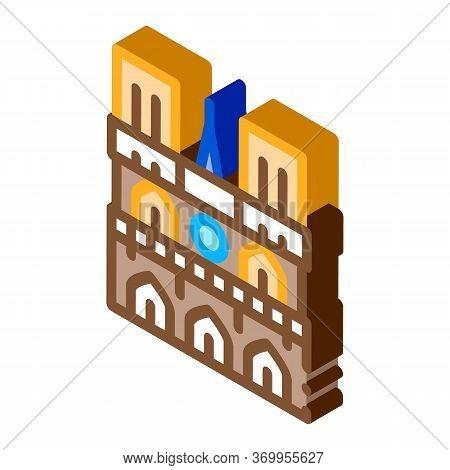 Notre Dame De Paris Icon Vector. Isometric Notre Dame De Paris Sign. Color Isolated Symbol Illustrat