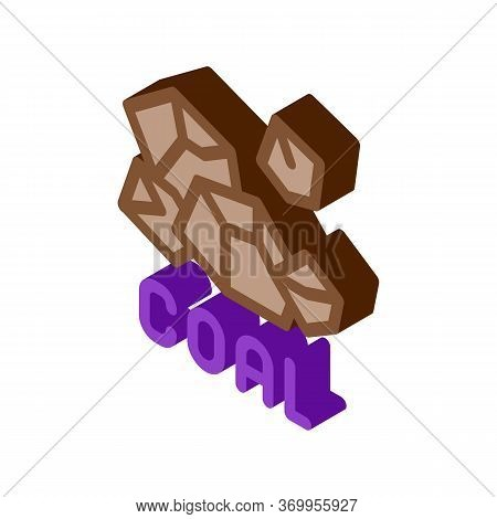 Coal Particles Icon Vector. Isometric Coal Particles Sign. Color Isolated Symbol Illustration