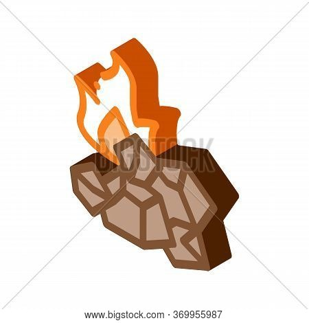 Charcoal For Fire Icon Vector. Isometric Charcoal For Fire Sign. Color Isolated Symbol Illustration