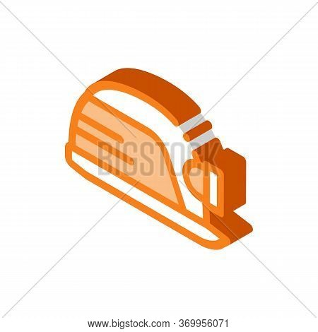 Safety Helmet With Flashlight Icon Vector. Isometric Safety Helmet With Flashlight Sign. Color Isola
