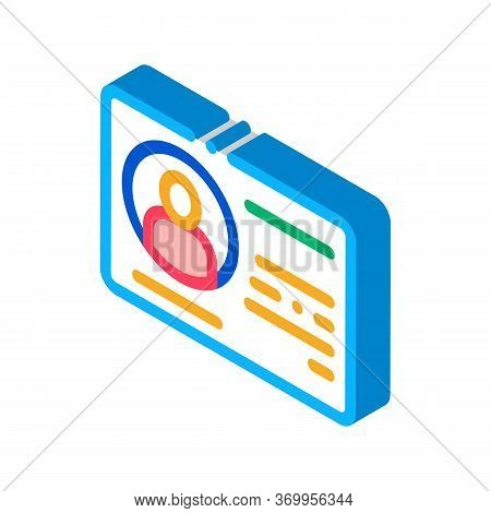 Driving License Icon Vector. Isometric Driving License Sign. Color Isolated Symbol Illustration