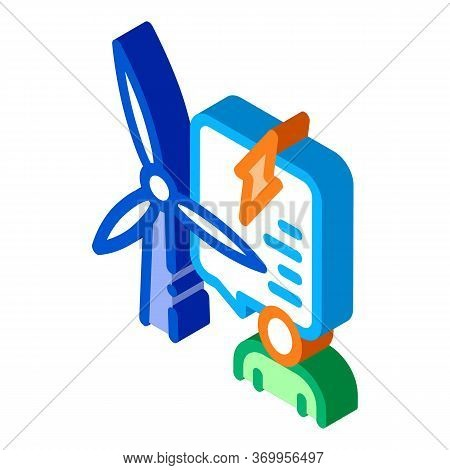 Thought About Benefits Of Wind Energy Icon Vector. Isometric Thought About Benefits Of Wind Energy S