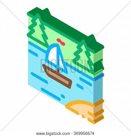 Current River Among Gorge Icon Vector. Isometric Current River Among Gorge Sign. Color Isolated Symb