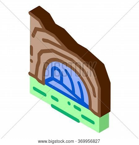Mountain Cave Gorge Icon Vector. Isometric Mountain Cave Gorge Sign. Color Isolated Symbol Illustrat