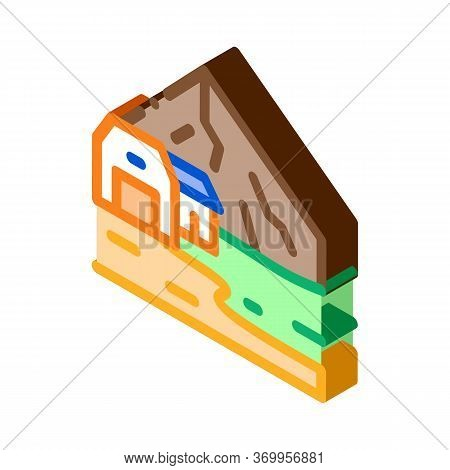 Residential Buildings In Highlands Icon Vector. Isometric Residential Buildings In Highlands Sign. C