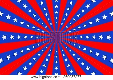 Poster With Colors Of American Flag In Blue, Red And White. Background With Rays And Stars.