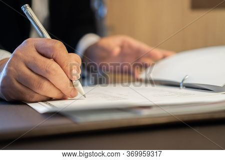 Asian Business People Manager Checking And Signing Applicant Filling Documents Reports Papers Compan