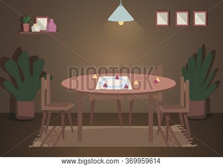 Place For Evening Family Leisure Flat Color Vector Illustration. Table For Board Games With Lamp Abo