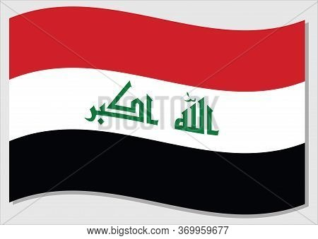 Waving Flag Of Iraq Vector Graphic. Waving Iraqi Flag Illustration. Iraq Country Flag Wavin In The W