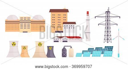 Power Plant Flat Color Vector Objects Set. Factory Buildings, Nuclear Reactors, Wind Turbines And So