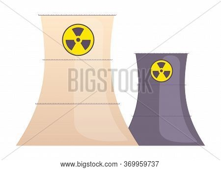 Atomic Reactors Cartoon Vector Illustration. Industrial Manufacturing Plant Constructions Flat Color