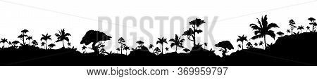 Jungle Black Silhouette Vector Illustration. Subtropical Rainforest. Hills With Trees. Nature And Wi