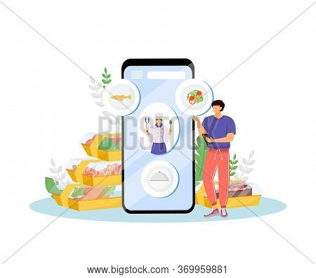 Restaurant Food Online Ordering Flat Concept Vector Illustration. Cafe Client And Chief-cooker 2d Ca